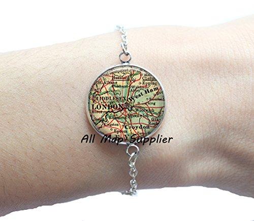 Charming Bracelet,London map Bracelets, London Bracelets, London jewellery resin Bracelets, London map jewelry, London map Bracelet,A0103