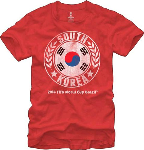 New FIFA Official Brazil World Cup Sphere Mens T-shirt Team South Korea, Multicolored, Large