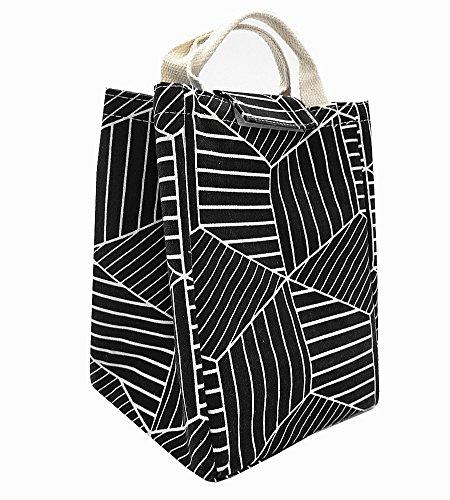 [해외]TIBAOLOVER 점심 가방, 무독성 환경 친화적 인 캔버스 직물 절연 방수 알루미늄 호일 점심 상자 토트 여성학생 여행및 피크닉을위한 도시락 쿨러 가방 (기하학적 패턴 - 블랙) / TIBAOLOVER Lunch Bag,Non-Toxic Eco-Friendly Canvas Fabric Insula...