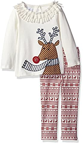 Mud Pie Baby Girl Holiday Two Piece Playwear Set, Fair Isle Pants, 0-6 Months