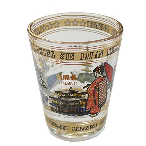 Collectible Shot Glass Japanese Sightseeing Memory Design