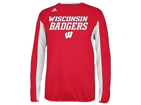 c40ea9dfad505 Amazon.com : Wisconsin Badgers adidas Climalite Red Sideline Crew ...
