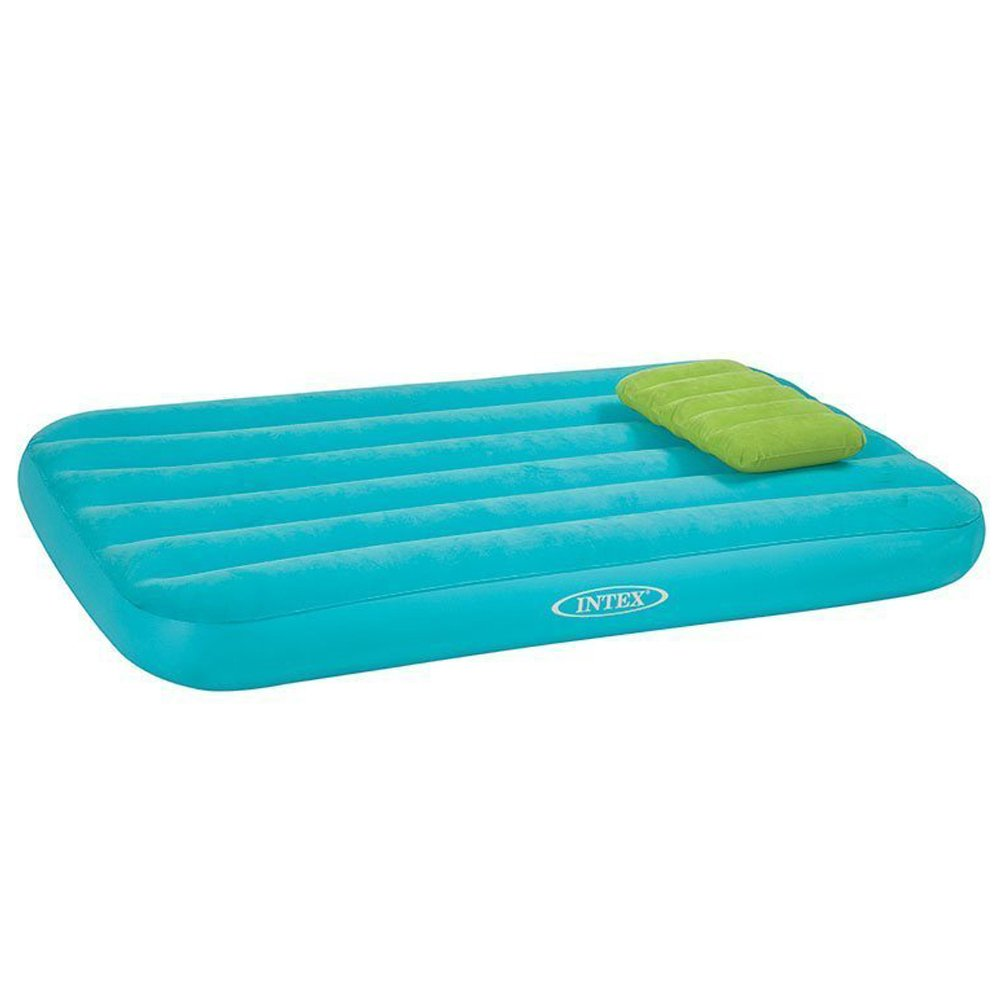 Intex Cozy Kidz Inflatable Air Bed w/Contrasting Color Pillow (Blue/Green) by Intex