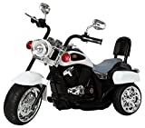 Ricco TR1501 White Kids 3 Wheel Chopper Trike Motorcycle Electric Ride on Motor Bike LED Lights and Music