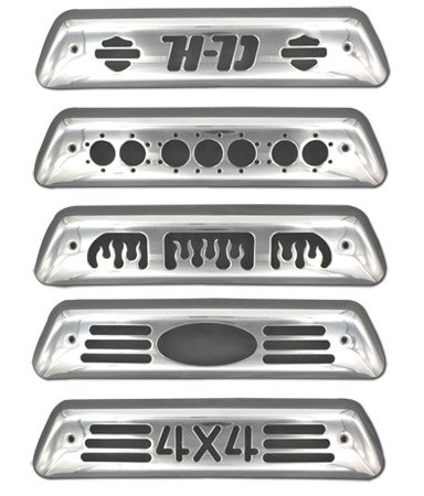 (All Sales 55004P Polished Billet Aluminum Third Brake Light Cover - Oval Cutout)