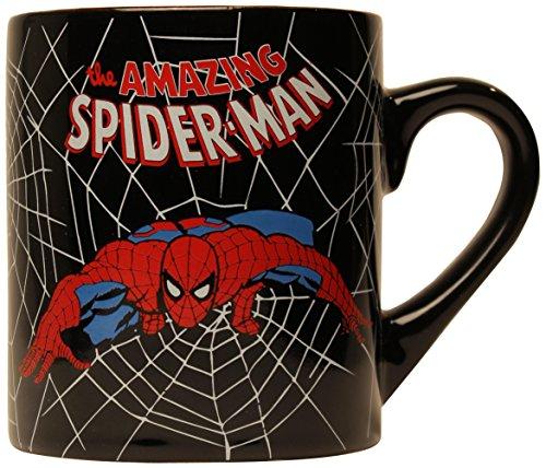 Silver Buffalo MC3232 Marvel Comics Spider-Man Swings Black Web, Ceramic Mug, 14 Ounces, Black
