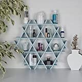 LaModaHome Cardboard Shelf 100% Corrugated Cardboard (20.5'' x 18.9'' x 2.8'') Blue Hexagon Triangle Bedroom Design Decorative Storage Shelf Multi Purpose