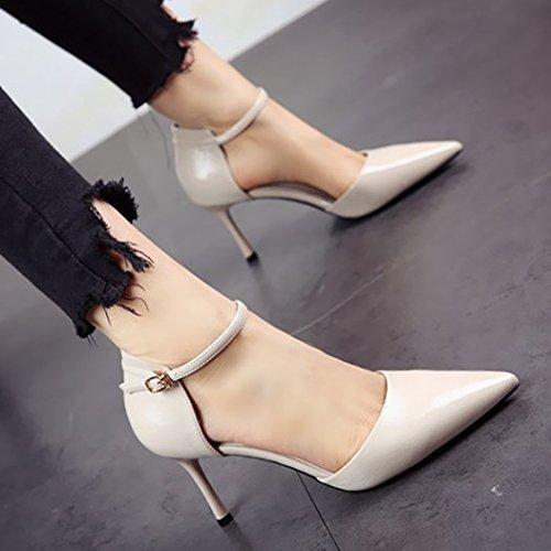mujeres verano Trabajo a las en superficialmente solo de los fino tacón y zapatos de zapatos zapatos FLYRCX tacón primavera YSwvqS