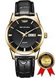 BRIGADA Swiss Watches Classic Gold Black Waterproof Sport Watch for Men Boys