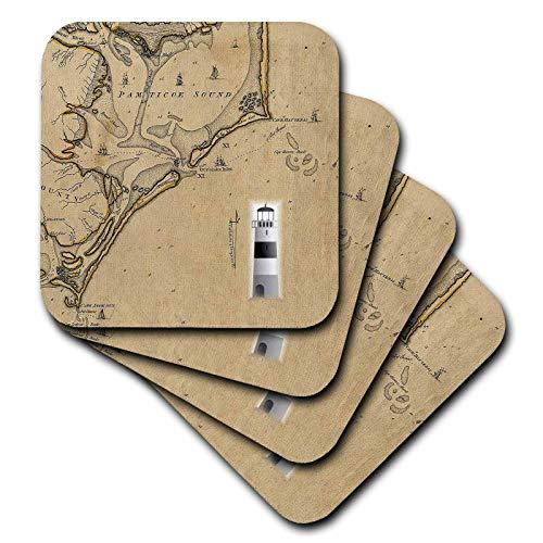 3dRose lens Art by Florene - Nautical Maps - Image of Vintage Nautical Map Cape Hatteras North Carolina - set of 4 Ceramic Tile Coasters (cst_317557_3) (Cape Furniture North)