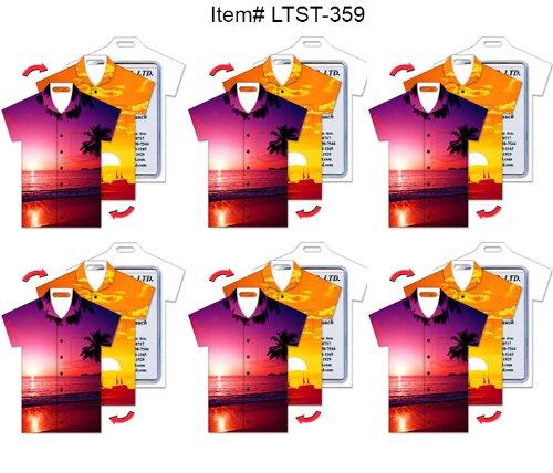 SET OF 6 Luggage Tag T-Shirt Shape Tropical Sunset Lenticular Flip Effect