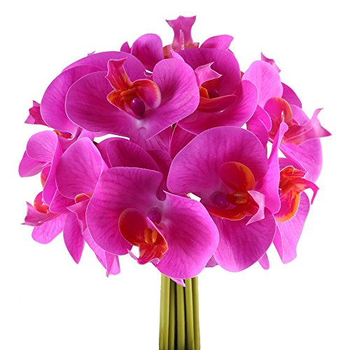GTIDEA 12PCS Artificial Fake Orchid Real Touch Faux Phalaenopsis Wedding Flower Bride Hand Tied Bouquet Home Office Party Table Centerpieces Arrangements (Silk Orchids Bouquets)