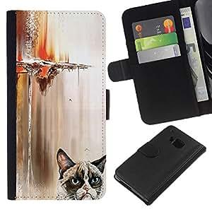 HTC One M9 - Dibujo PU billetera de cuero Funda Case Caso de la piel de la bolsa protectora Para (Funny Angry Cat)