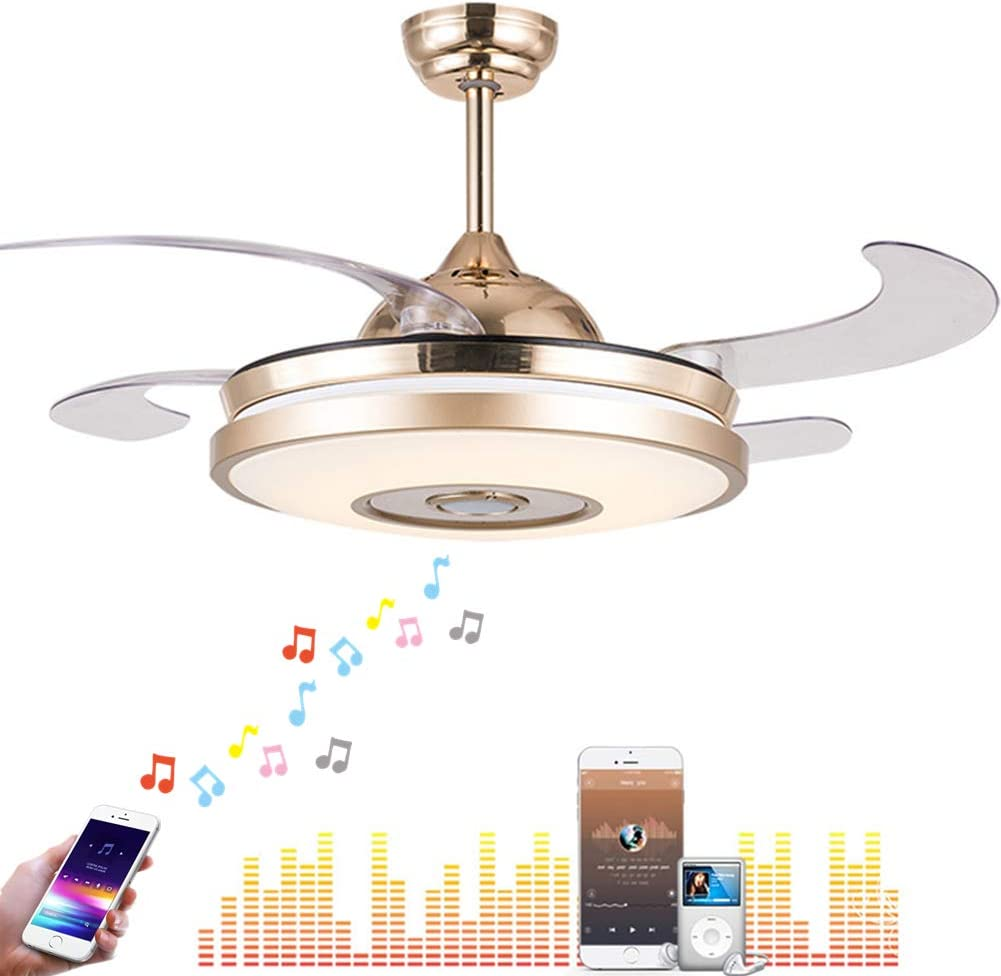 Fandian 42 Modern Ceiling Fans with Light Smart Bluetooth Music Player Chandelier 7 Colors Invisible Blades with Remote Control, Dimmable LED Kits Inlcuded 42in Classic