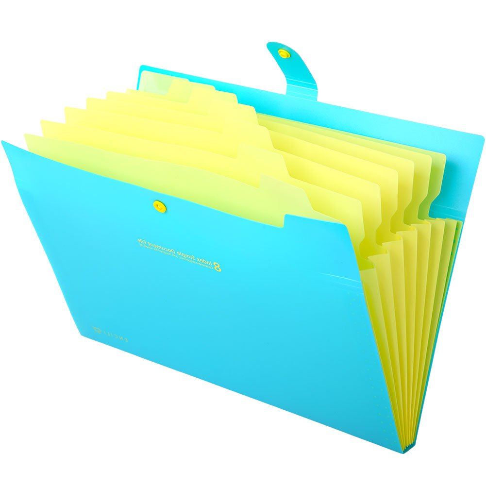 Expanding File Folder Colored, 8-Pocket Accordion Document Organizer, A4 Letter Size Office File Folders, 3-Pack Plastic Paper Storage Bags, for School & Office, with Snap Closure and Tabs by IDOMIK (Image #4)