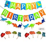 Oexper Dinosaur Happy Birthday Banner Dino Jungle Jurassic Garland and 48 Pieces Dinosaur Cupcake Toppers for Dinosaur Theme Boy's Birthday Décor Kids Party Supplies Decorations Party Favors