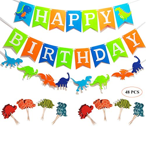 Oexper Dinosaur Happy Birthday Banner Dino Jungle Jurassic Garland and 48 Pieces Dinosaur Cupcake Toppers for Dinosaur Theme Boy's Birthday Décor Kids Party Supplies Decorations Party Favors by Oexper