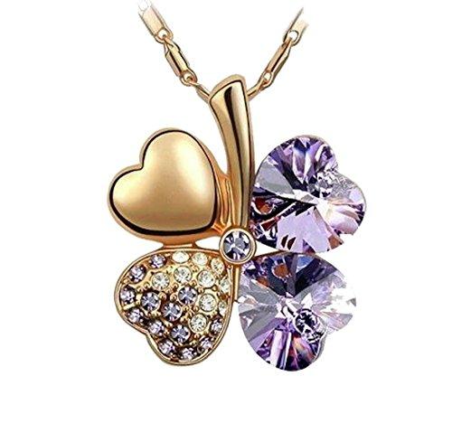 KATGI Fashion My Lucky Charm Austrian Crystal Four Leaf Clover Pendant Necklace (Gold Violet)
