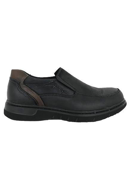 zapattu Baerchi - Zapatos Mocasines de Piel Negro - Negro, 44