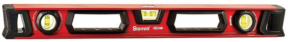 Starrett Exact KLIX24-1-N Aluminum I-beam Magnetic Level with 3 Plastic 360° Vials, 24'' Length