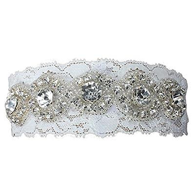 Fashion Plaza Wedding Accessories Bridal Garter White Lace with Rhinestone A-G002