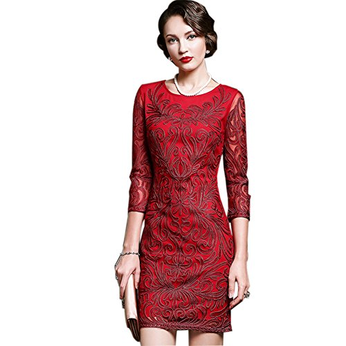 Gown Evening 4 Sleeve 3 Dresses Neck Round Red Business cotyledon Women`s fPqxwCE