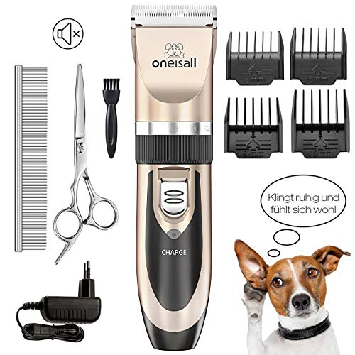 ONEISALL Dog Shaver Clippers Low Noise Rechargeable Cordless Electric Quiet Hair Clippers Set for Dog Cat (The Best Dog Grooming Clippers)