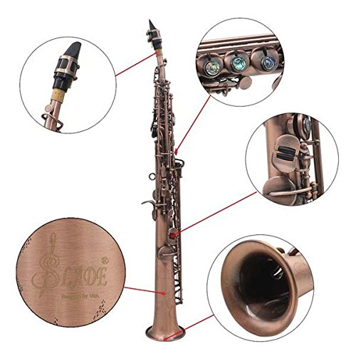 LADE WSS-899 Copper Soprano Bâ­ Saxophone Carved Abalone Shell Key by SOUND HOUSE 48 (Image #3)