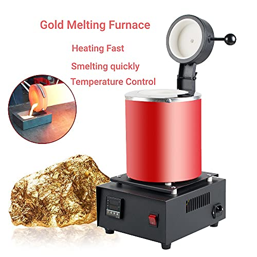 3KG 6.6Lbs Gold Melting Furnace 1400W 2102°F Automatic Digital Melting Casting Refining Furnace Machine with Graphite Crucible Plier Furnace Kit for Melt Gold Silver