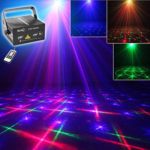 SUNY Red Green Gobos Blue Stars DJ Lights Laser Projector Z12B-RGB300 Home Show Party Halloween Xmas Decoration Event Laser Stars Projector Light