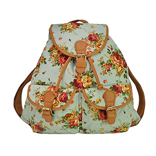 Damen Mädchen Casual Vintage Canvas Haltbare Segeltuch Reisetaschen Sporttaschen Schultaschen Rucksack Wanderrucksack Multifunktionsrucksack - Rosa Blumenmuster- Rosa