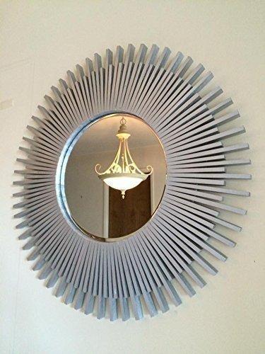 Sunburst Wall Mirror Round Silver Wood Frame - Frame Sunburst