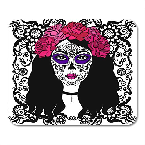 Nakamela Mouse Pads Black Tattoo Girl with Sugar Skull Makeup Calavera Catrina Mexican Halloween Person Dia De Los Muertos Mouse mats 9.5