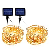 Christmas Lights String Solar Power 55 Feet Copper Wire with 150 LED Warm Color for Garden Party Decorations