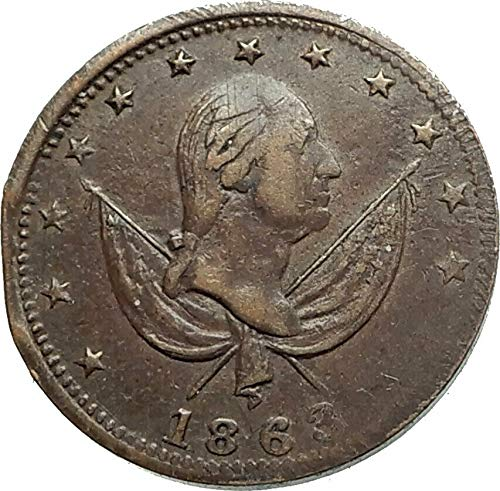 1863 1863 US CIVIL WAR Patriotic One Cent Token Penny coin Good