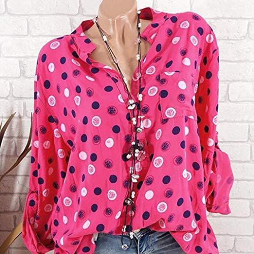 S t XXXXXL 8 pour T Blouse Haut Femme Rouge Manches de Lache Chemise Chic Pois Tee Shirt Grand Longues Imprim Shirt Guesspower Couleur Taille Top Sexy Loisir Femme RqF4gg