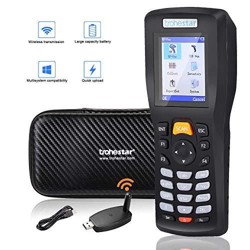 Trohestar Wireless Barcode Scanner 1D Cordless Data Collector Handheld Portable Data Terminal Inventory Device Wired & Wireless Bar Code Reader with LCD Screen Include Tool Case (Chargable Model)