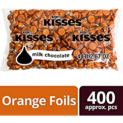 HERSHEY'S KISSES Chocolate Candy, Halloween Candy, Orange, 4.1 Pounds Bulk Candy