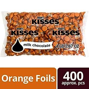 HERSHEY'S KISSES Chocolate Candy, Orange Foils, 4.1 Pounds Bulk Candy