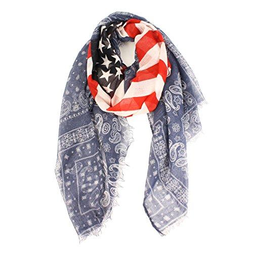 Perisin Paisley Patriotic US America Flag Stars Stripes Summer Scarf Wrap Fringe - America Scarf