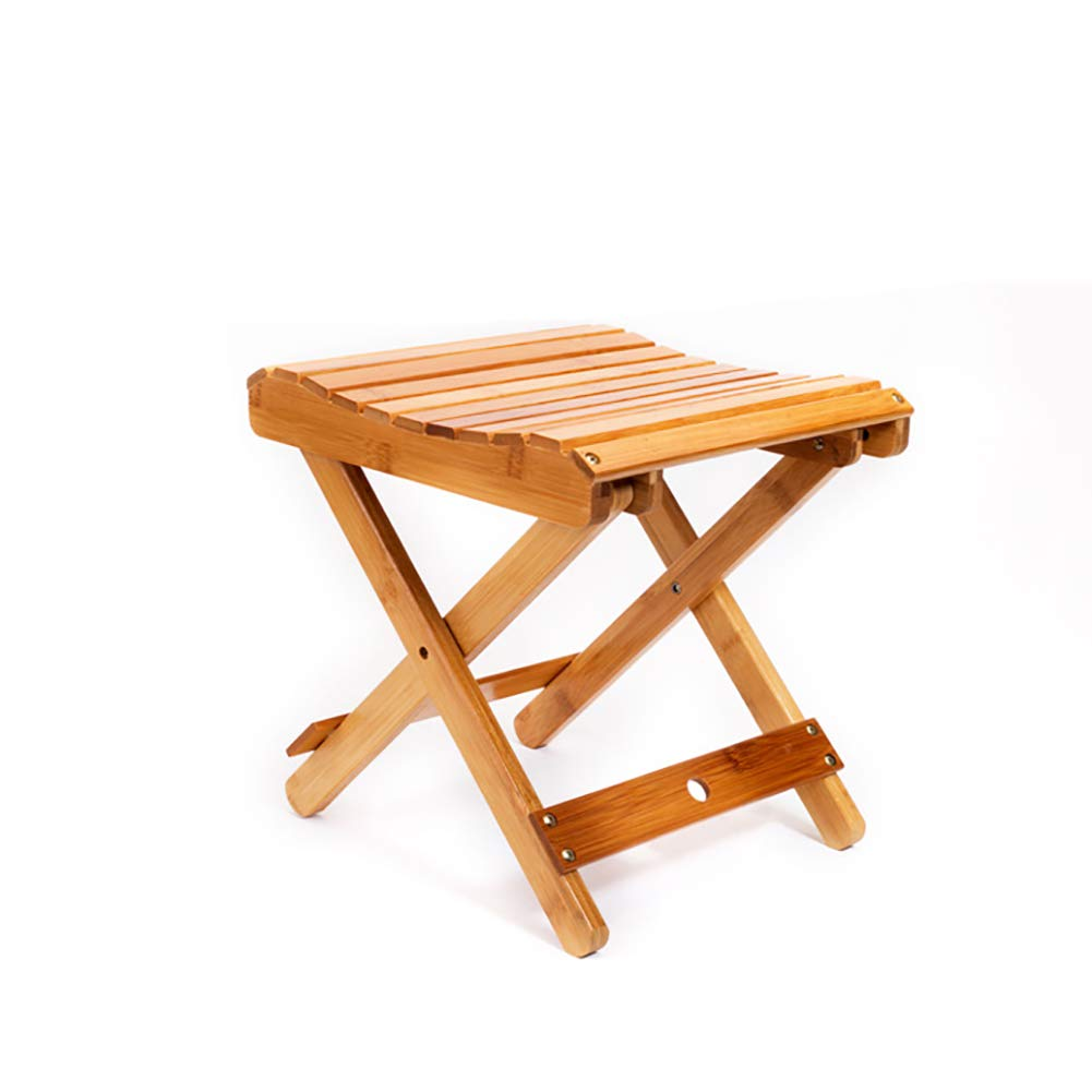 ZXY Natural Bamboo Portable Folding Stool, Indoor Outdoor Folding Stool for Shaving Shower Foot Rest Fully Assembled-A 38x28x30cm(15x11x12inch) by ZXY