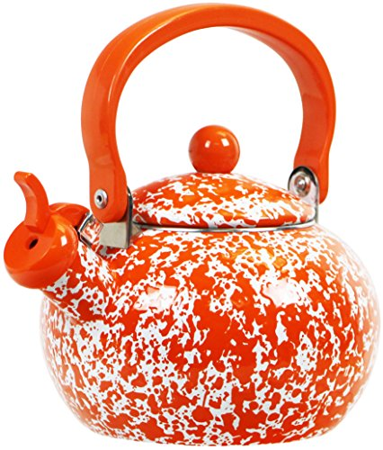 Calypso Basics By Reston Lloyd Whistling Teakettle, 2 quart, Orange Marble