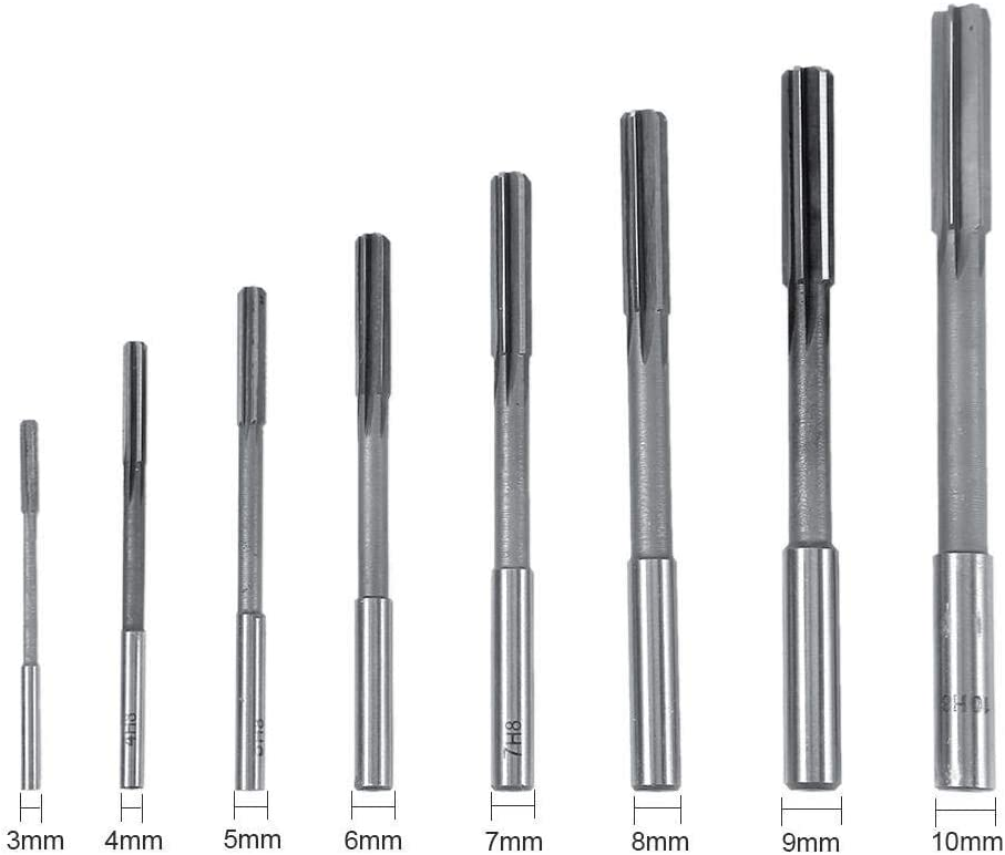 Machine Reamer 8 Pieces Hss Cutting Reamer Tool Set High Hardness For 3//4//5//6//7//8//9 //10mm