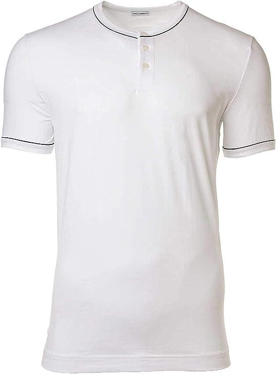 Dolce & Gabbana Camiseta Hombre, Serafino, D & G, Cuello Redondo, Tapeta con Botones, Colores Lisos: Amazon.es: Ropa y accesorios