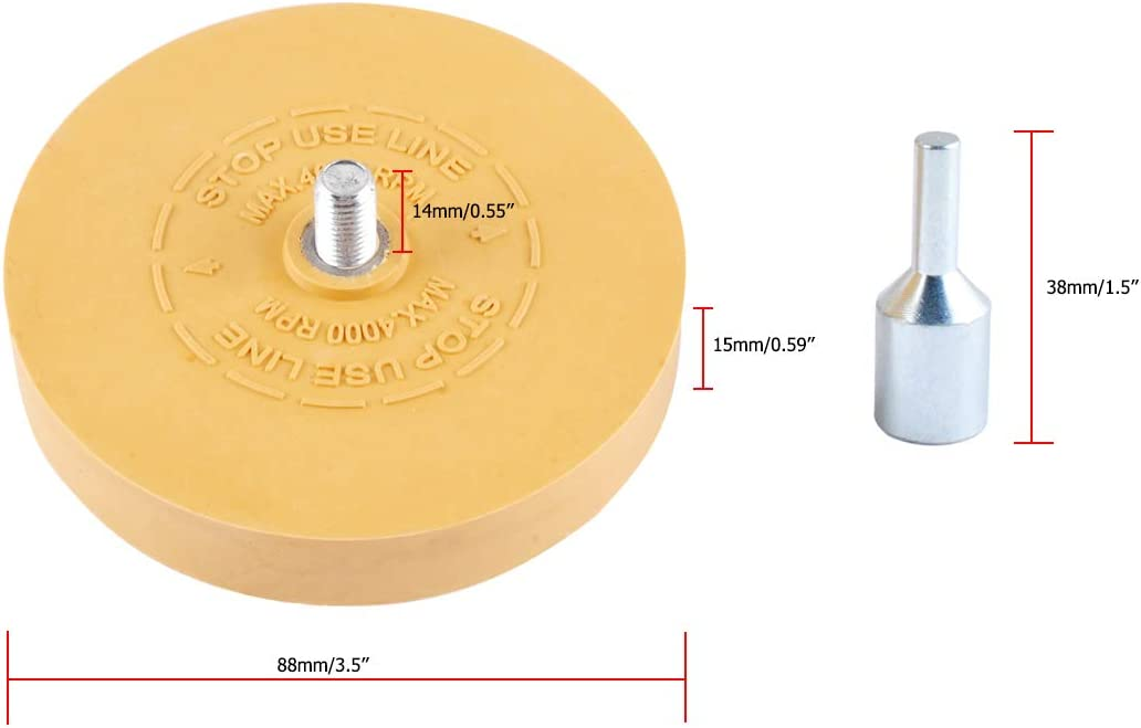 """Adhesive Remover Vinyl Decal Car Decal Removal Tool Rubber Eraser Wheel 3.5/"""" Pad with Adapter for Pinstripe"""