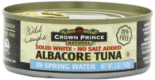 Crown Prince Natural Solid White Albacore Tuna in Spring Water, No Salt Added, 5-Ounce Cans (Pack of 6)