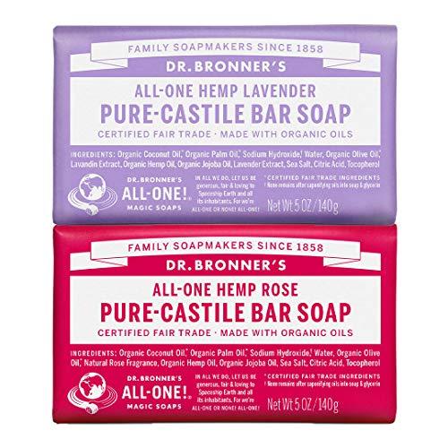 Dr. Bronner's Pure-Castile Bar Soap Bundle (2 Pack) - Lavender (5oz) & Rose (5 oz) (Dr Bronners Tea Tree Bar Soap Reviews)