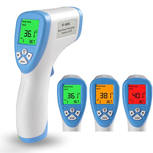 LAFEINA Digital Thermometer LCD Non-contact IR Infrared Thermometer Forehead Body Surface Temperature Measurement with Three Color Alarm Function for Body and Surface of Objects Measurement (Blue)