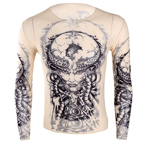 Agoky Fake Tattoo Shirt Tribal Inspired Print Elastic Long Sleeve T-Shirt Clubwear Shirts Type B One Size