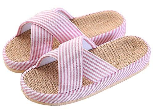Blubi Donna Estate X Modello Lino Confortevole Casa Pantofole Pantofole Carino Rosa